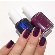 I loved 'French-Plum' look for so much I decided to recreate it! Polishes used were 'Midnight Cami' and 'Bahama Mama' Essie, My Nails, Plum, Bahama Mama, Nail Polish, Nail Art, French, My Love, Create