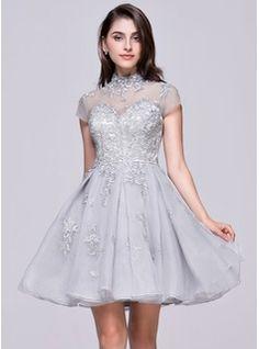 A-Line/Princess Sweetheart Knee-Length Chiffon Sequined Homecoming Dress With Ruffle (022010318) - JJsHouse