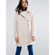 ASOS Oversized Cocoon Coat with Funnel Neck in wool Mix and Boucle... ($130) ❤ liked on Polyvore featuring outerwear, coats, pink, textured coat, boucle coats, funnel collar coat, pink coat and asos coats