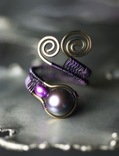 Peacock Black Freshwater Pearl Purple Copper Ring by Moss & Mist Jewelry | Flickr - Photo Sharing!
