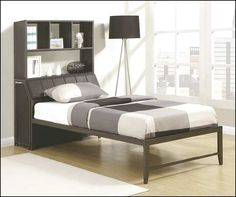 full size bed with bookcase storage headboard