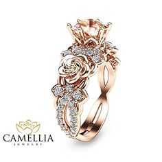 14K Rose Gold Morganite Ring Flower Wedding Ring Custom R...
