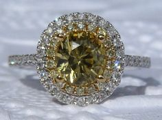 Yellow Sapphire Engagement Ring, Canary Yellow Sapphire in Double Diamond Halo Engagement Ring, Yellow Diamond Engagement Ring by JuliaBJewelry on Etsy https://www.etsy.com/listing/289539847/yellow-sapphire-engagement-ring-canary