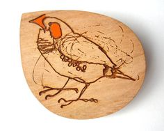 Etched Cherry Wood Brooch of a Finch by Bridget Farmer, Hand Painted, Laser cut, Laser Etched on Etsy, $39.00 AUD
