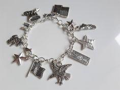 America/USA charm bracelet - American charm bracelet/jewelry - American gift keepsake bracelet - statue of liberty/eagle/stars and stripes