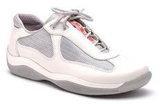 #deal Prada Women's Talc Fashion Sneaker Nevada Bike Talco PR3163 Sz 36.5 6.5