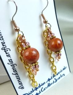 Red Coral Copper and Brass Long Dangle Earrings | dianesdangles - Jewelry on ArtFire #artfire #bmecountdown