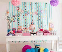 Fiesta temática Búho : Una fiesta de cumpleaños divertida y encantadora de temática Búho. Ambientada en todos pasteles destacando el color rosa por ser una fiesta para niñas. Más