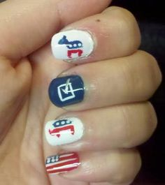 Election Day Nails. I would only want elephants tho!
