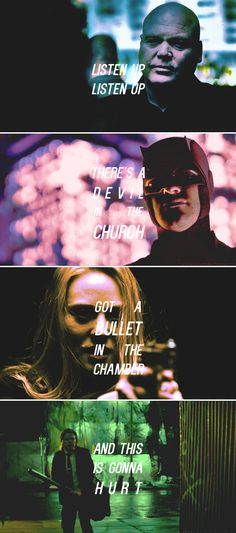 let it out, let it out You can scream and you can shout Keep your secrets in the shadows And you'll be sorry #daredevil