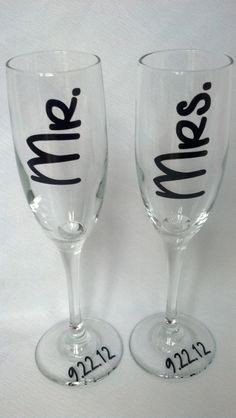 Wedding toasting flutes for Bride and Groom by WaterfallDesigns