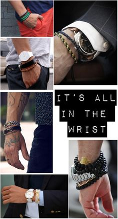 Armed and awesome. Men's Style Tips: Men's Wrist Wear. Sharp Dressed Man, Well Dressed Men, Mein Style, Bracelets For Men, Stack Bracelets, Layering Bracelets, Bangles, Gentleman Style, Dapper