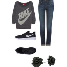 A fashion look from February 2015 featuring NIKE sweatshirts, Frame Denim jeans and NIKE sneakers. Browse and shop related looks.