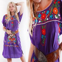Vtg 80s Ethnic Purple Hand Embroidered Floral Midi Dress Boho Hippie Gypsy M by VoodooVintage on Etsy