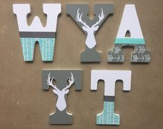 Woodland Nursery Letters Woodland Letters by KidMuralsbyDanaR (decorative letters for wall initials) Baby Room Diy, Baby Boy Rooms, Baby Boy Nurseries, Diy Baby, Kids Rooms, Wood Letters Decorated, Painted Wood Letters, Nursery Name, Nursery Wall Art