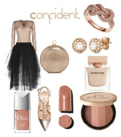 """""""Confident Look"""" by rea-godo on Polyvore featuring Balmain, Elie Saab, Valentino, Halston Heritage, Effy Jewelry, Allurez, Too Faced Cosmetics, Christian Dior and Narciso Rodriguez"""