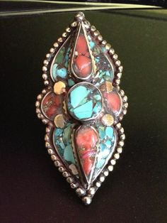 Tibetan Handmade Turquoise And Coral Ring