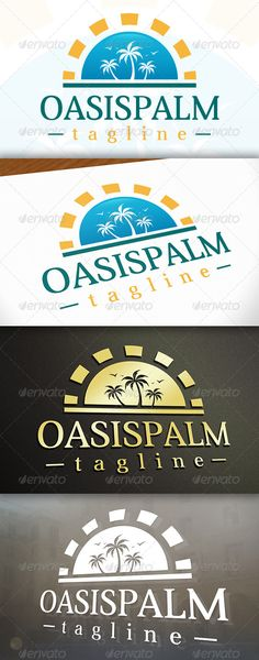 Buy Oasis Logo by BossTwinsArt on GraphicRiver. - Three color version: Color, greyscale and single color. - The logo is resizable. - You can change text and col. Logo Design Template, Logo Templates, Marathon Logo, Tree Logos, Travel Logo, Information Graphics, Game Logo, Camping With Kids, Logo Color