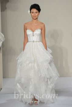Pnina Tornai - 2013. Style 4216, strapless lace A-line wedding dress with a layered asymmetrical skirt and beaded sweetheart neckline, Pnina Tornai