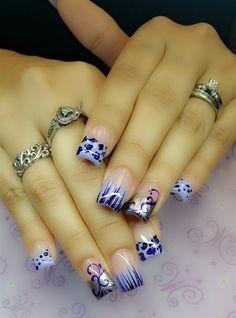 Day Abstract Nail Art (With images) French Nail Designs, Toe Nail Designs, Beautiful Nail Designs, Diy Nails, Cute Nails, Purple Nail Art, Uñas Fashion, Fashion Weeks, Abstract Nail Art
