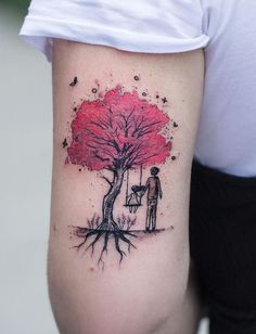 Watercolor Tattoos Will Turn Your Body into a Living Canvas - tree of life watercolor tattoo © Robson Carvalho - Wolf Tattoos, Finger Tattoos, Life Tattoos, Body Art Tattoos, Tatoos, Tattoo Kind, Tiny Tattoo, Geometric Tattoo Tree, Underarm Tattoo