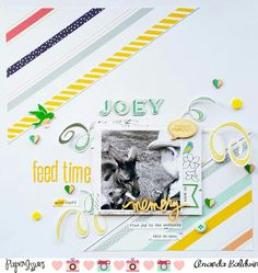 Paper Issues : September Pawsitively Pets challenge : Joey feed time layout by Amanda Baldwin featuring Pinkfresh Studio Felicity collection