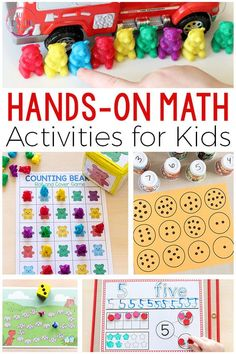 These hands-on math activities are fun and engaging. There are printables and games that are perfect for math centers of small group instruction. Teach math concepts and number sense with these activities. #mathforkids #preschoolmath #elementarymath #kindergarten #preschool