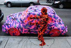 Crocheted Olek..sooo amazing!  massive yarn bombing!