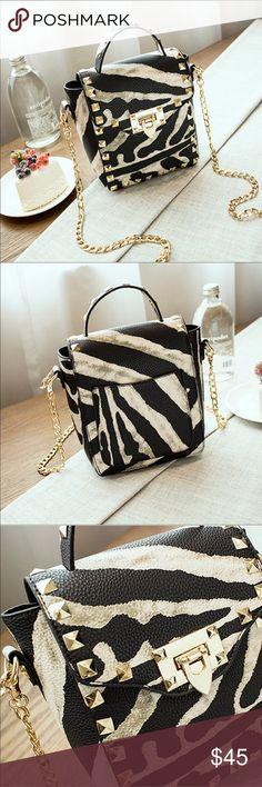 "Small PU Leather Crossbody /Shoulder Bags Small PU Leather zebra strip Crossbody /Shoulder Bags. Measurement 7x 6x 2.8"" Bags Crossbody Bags"