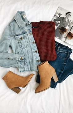daily dress me burgundy sweater with a jean jacket and brown booties. Visit Daily Dress Me at for more inspiration women's fashion fall fashion, casual outfits, sc Fashion Mode, School Fashion, Look Fashion, Trendy Fashion, Fashion 2018, Winter Fashion, Fashion Images, Feminine Fashion, 2000s Fashion