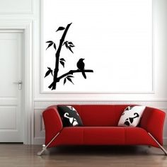 Stylish Bird on Tree Branch Wall Decal  Birds are our friends for life. We all love the melodious voice they make and sing every morning. Very often we get up  from bed, by hearing their soothing voice. Buy this attractive bird on the tree branch wall decal for your living room. The leaves on the branch add more beauty to the decal.  SMALL :-- 18 X 24 -- IN INCHES MEDIUM :-- 24 X 33 -- IN INCHES LARGE :-- 48 X 65 -- IN INCHES