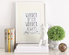 Typography Print - Wander Often Wonder Always™ - Travel Print, Inspirational Print, Inspirational Quote, Motivational Print, Black and White