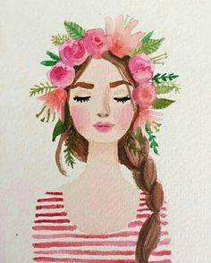 Discover and share the most beautiful images from around the world | Watercolor Images, Watercolor Painting, Watercolors, Watercolor Design, Art Illustrations, Fashion Illustrations, Wig, Crown Flower, Draw Flowers #watercolorarts