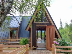 A cozy A-frame treehouse at the McKinley Princess Wilderness Lodge in Alaska!