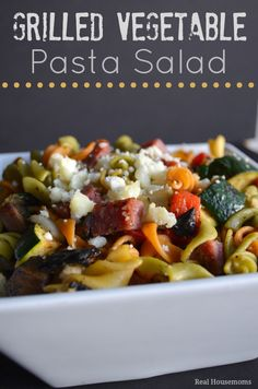 Grilled Vegetable Pasta Salad ~ The grilled veggies are so delicious tossed with pasta, salami Parmesan cheese and balsamic vinaigrette.