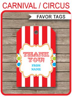INSTANT DOWNLOADS of Carnival Party Favor Tags with colorful dots. Personalize the template at home and attach to your Circus or Carnival party favors.
