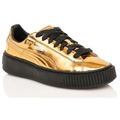 PUMA Gold Metallic Creeper Sneakers (€105) ❤ liked on Polyvore featuring shoes, sneakers, patent sneakers, lace up sneakers, creeper platform shoes, puma trainers and lace up shoes