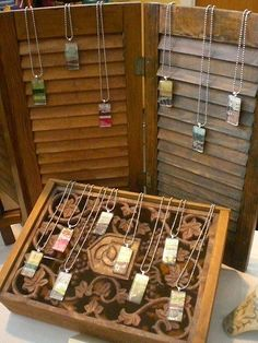 Shutters used in craft fair jewelry display
