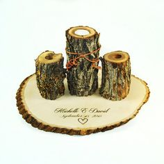 Unity Candle Set with heart and personalized by RoxyHeartVintage