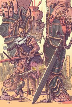 """Mackenzie Schubert: """" Got the chance to draw a pinup of Andrew Maclean's Head Lopper coming out in September. Comics Illustration, Illustrations, Draw Character, Dark Fantasy, Fantasy Art, Pinup, Art Graphique, Character Design References, Character Design Inspiration"""