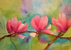 Pink Champagne One by Lynette Bagley Watercolor ~ 13 x 10