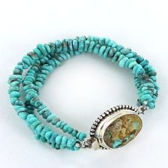 PERSIAN TURQUOISE BRACELET BLUE NUGGET BEADS 3 STRANDS from New World Gems