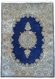 Navy Blue 6' 7 x 9' 10 Kerman Persian Rug | Persian Rugs | eSaleRugs