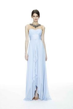 Notte Resort 2015: This is a pale blue strapless gown with a high/low hemline and sweetheart neckline. I adore the pale blue color! The gown is so feminine but glamorous! I love this gown!