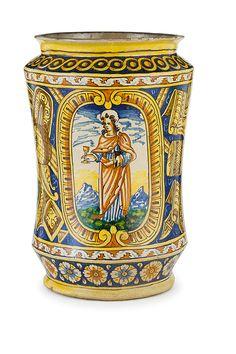 """Lot 1314 - """"CILINDRONE IN MAIOLICA POLICROMA, ANDREA PANTALEO, PALERMO, 1613"""" decorato con figure di San"""