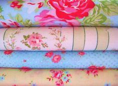 Shabby Chic Pale Blue Floral Fat Quarter Bundle