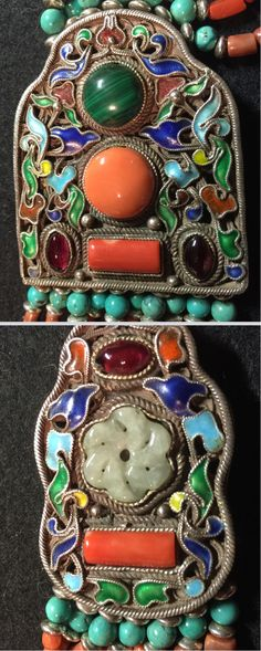 Two necklace pendants, enamelled, inlaid gemstones and jade. 19th/20th C. Mongolian.