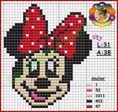 Minnie perler bead pattern by Carina Cassol grille point de croix minnie Cross Stitch Baby, Cross Stitch Charts, Cross Stitch Patterns, Mickey Mouse Characters, Mickey Mouse And Friends, Minnie Mouse, Disney Stitch, Cross Stitching, Cross Stitch Embroidery
