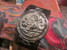 Religious man cuff bracelet mens jewelry leather one of a kind Saint Christopher travel medal adjustable by madonnaenchanted on Etsy