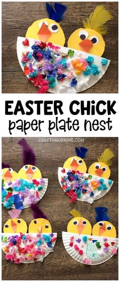 Easter chick craft in a paper plate nest! What a cute easter or spring craft for kids to make. #artsandcraftswithpaper, #craftsforkidstomake